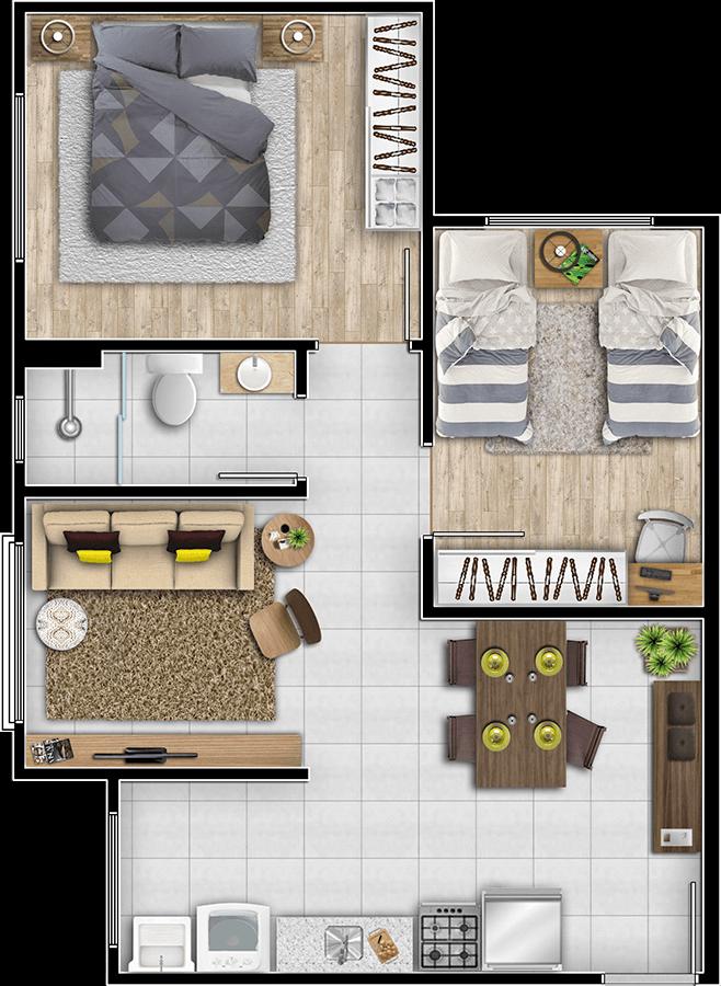 Planta 56,05m² apartamento Condomínio Amapá - Village Construções